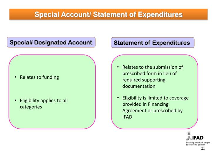 Special Account/ Statement of Expenditures
