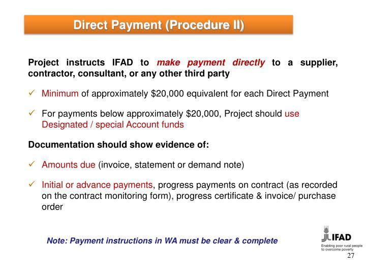 Direct Payment (Procedure II)