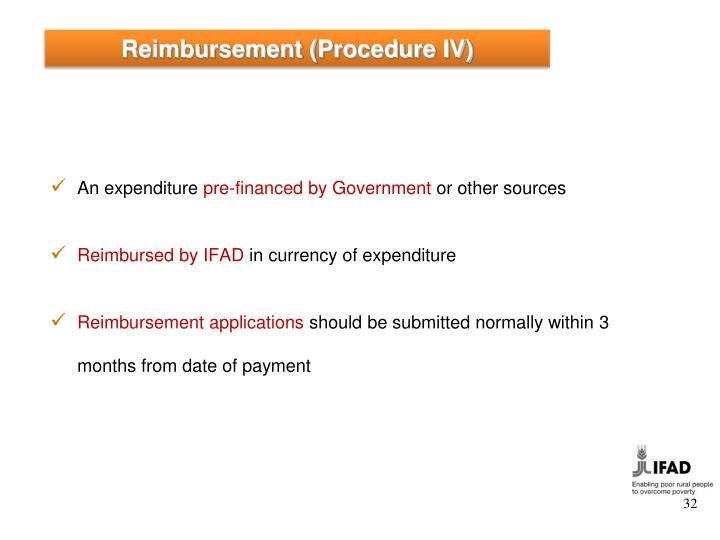 Reimbursement (Procedure IV)