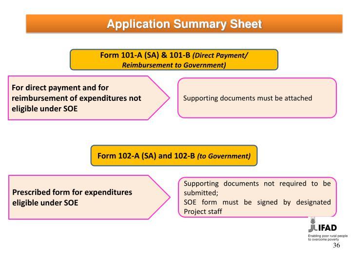 Application Summary Sheet