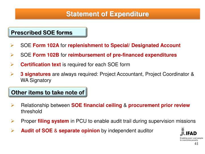 Statement of Expenditure