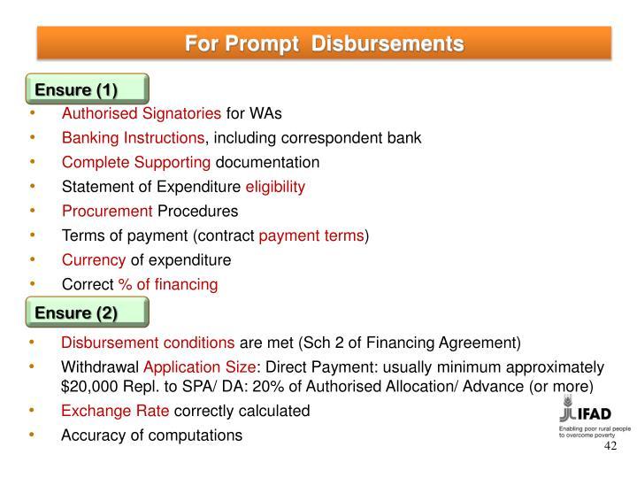 For Prompt  Disbursements
