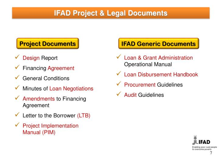 IFAD Project & Legal Documents