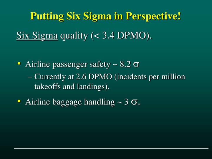 Putting Six Sigma in Perspective!