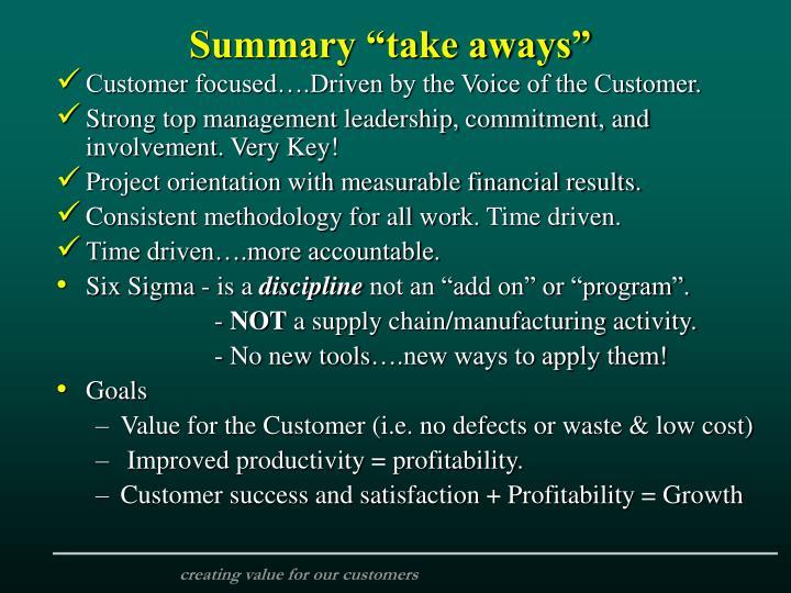 "Summary ""take aways"""
