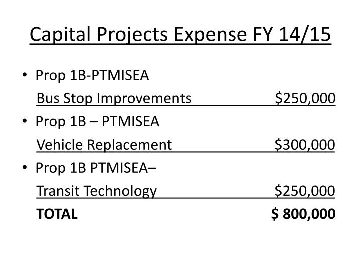 Capital Projects Expense FY 14/15