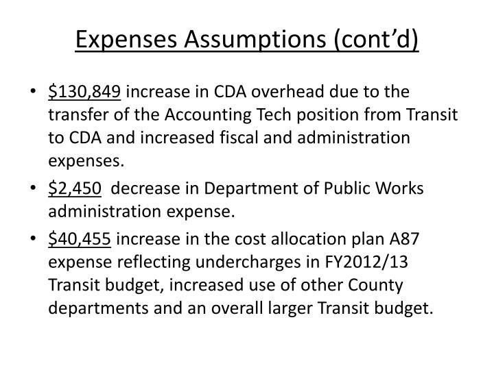 Expenses Assumptions (cont'd)