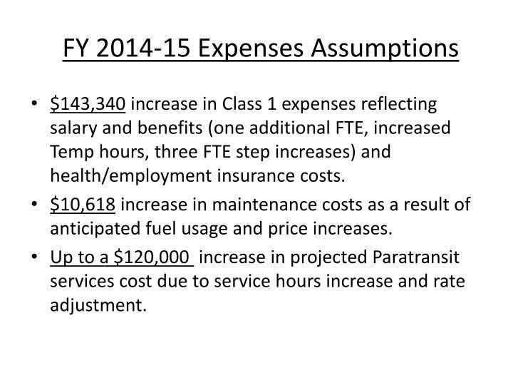 FY 2014-15 Expenses Assumptions