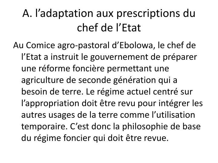 A. l'adaptation aux prescriptions du chef de l'Etat