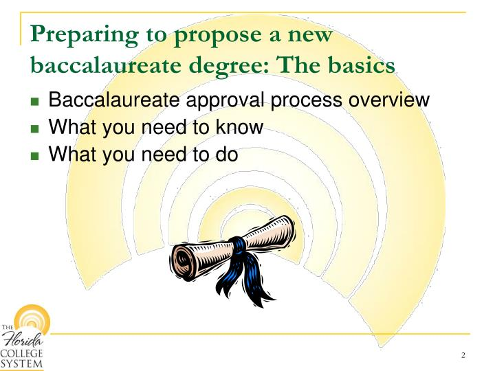 Preparing to propose a new baccalaureate degree the basics