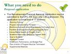 what you need to do proposal application