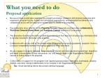 what you need to do proposal application1
