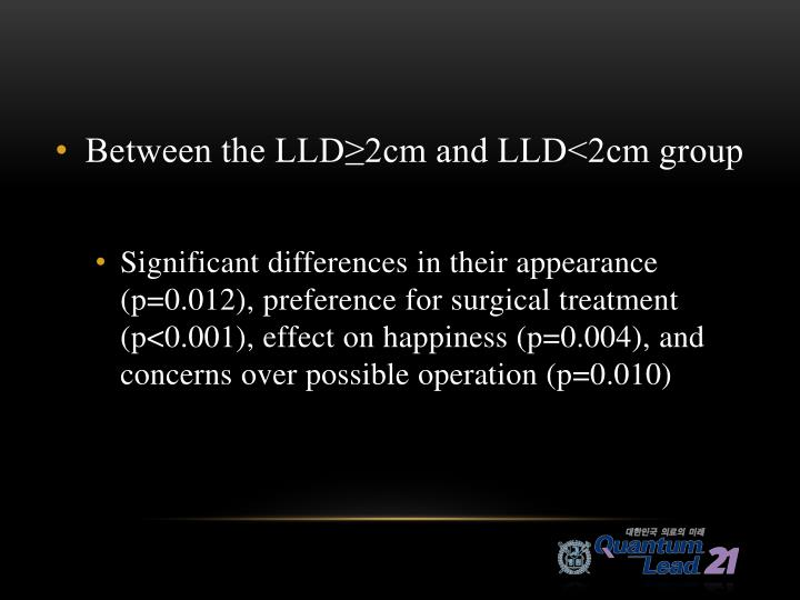 Between the LLD≥2cm and LLD<2cm group