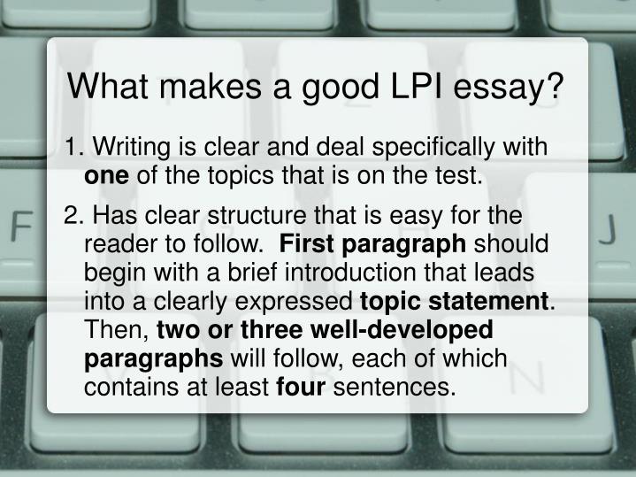 What makes a good LPI essay?
