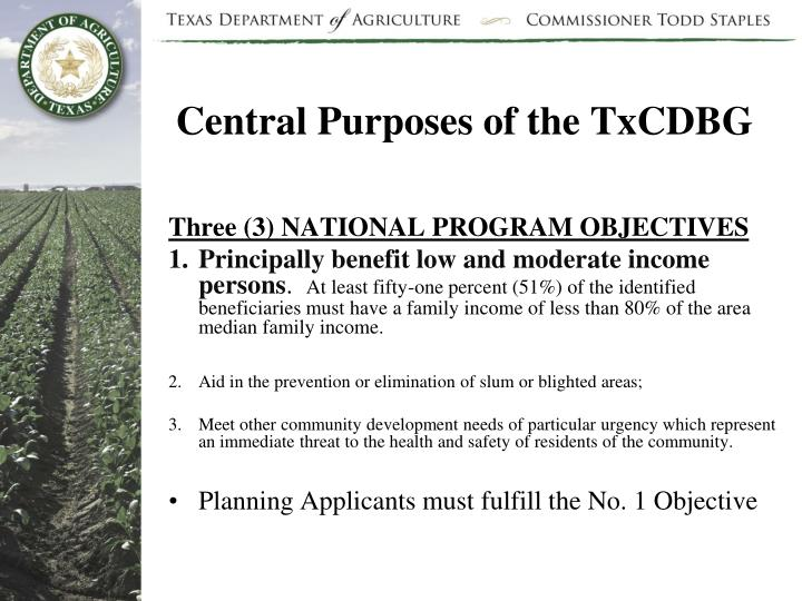 Central Purposes of the TxCDBG