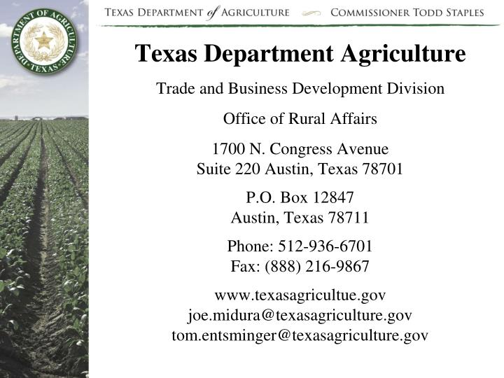 Texas Department Agriculture