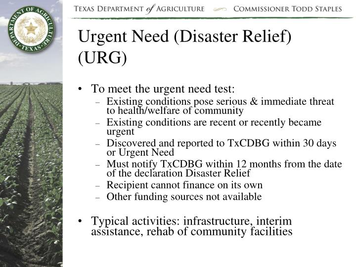 Urgent Need (Disaster Relief) (URG)