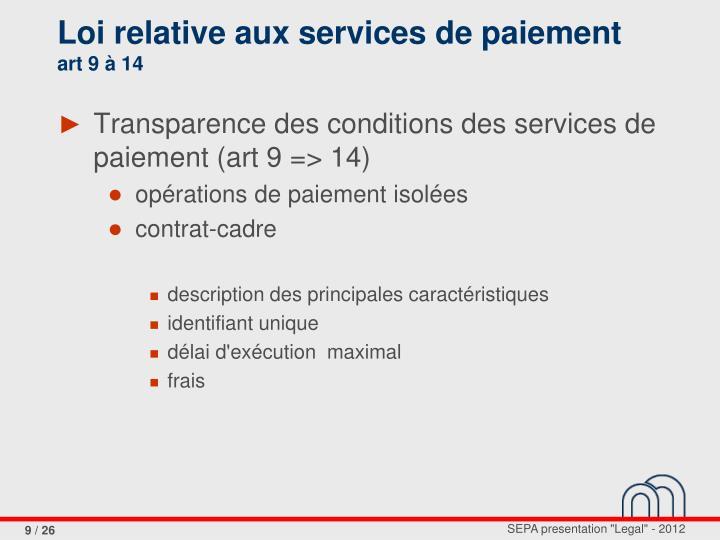 Loi relative aux services de paiement