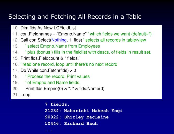 Selecting and Fetching All Records in a Table