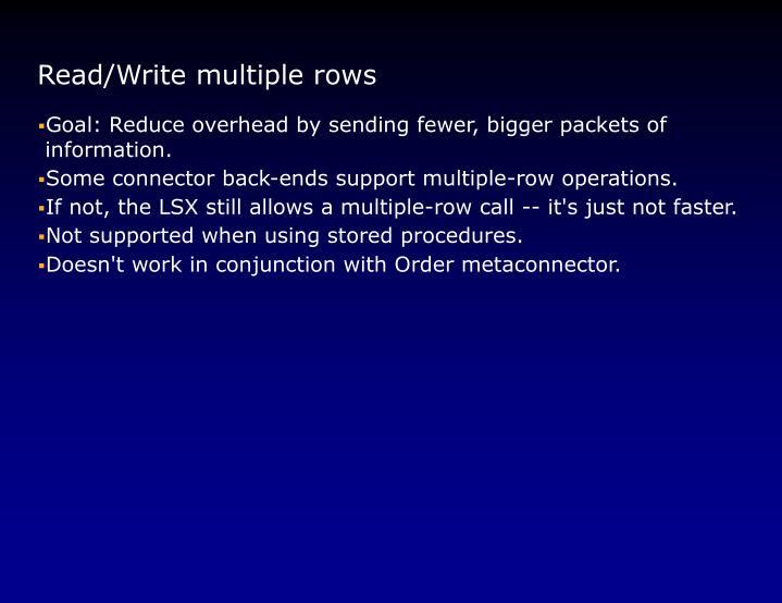 Read/Write multiple rows