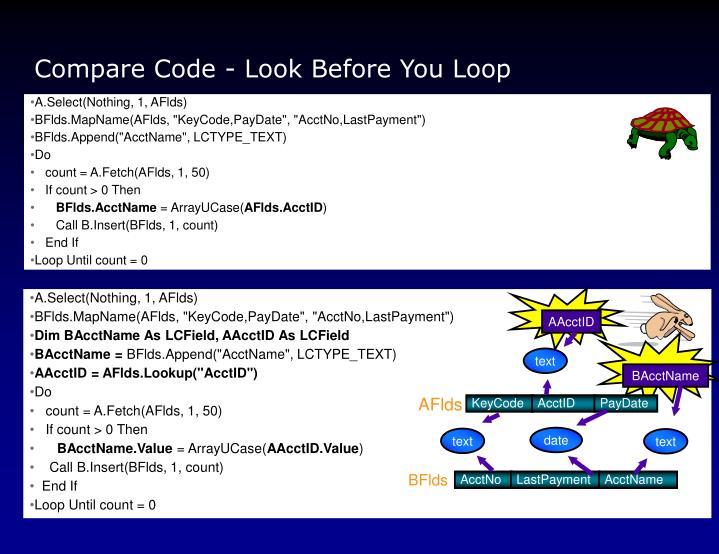 Compare Code - Look Before You Loop