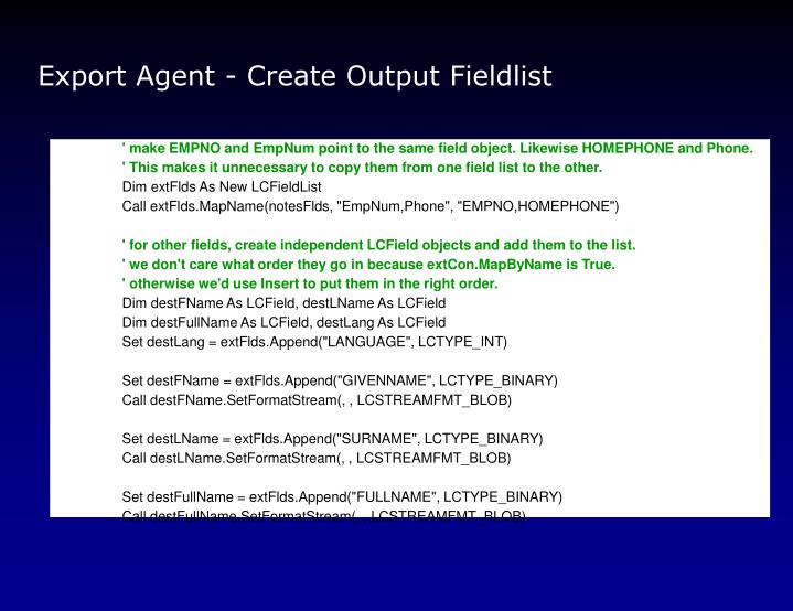 Export Agent - Create Output Fieldlist