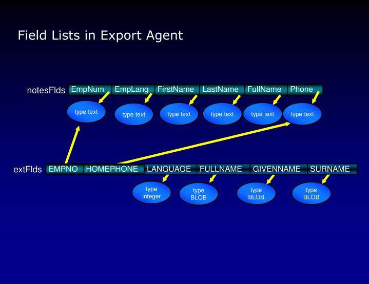Field Lists in Export Agent