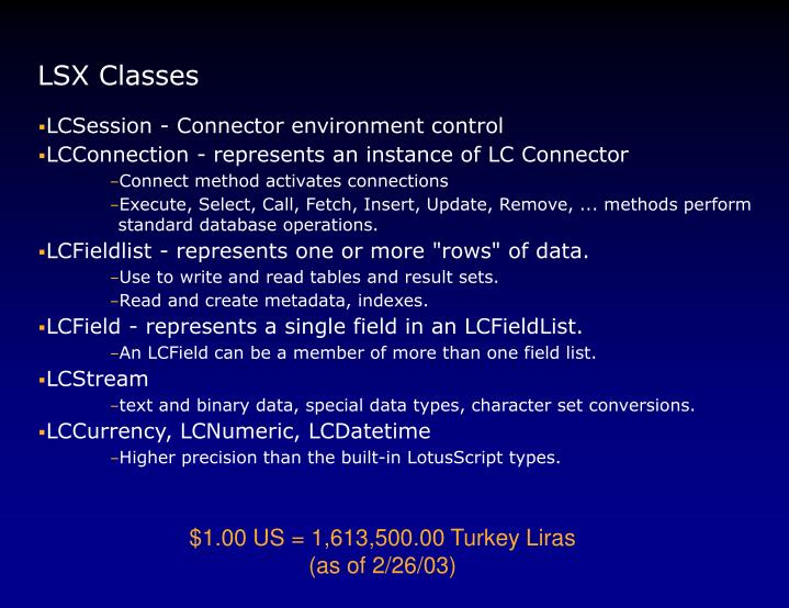 LSX Classes