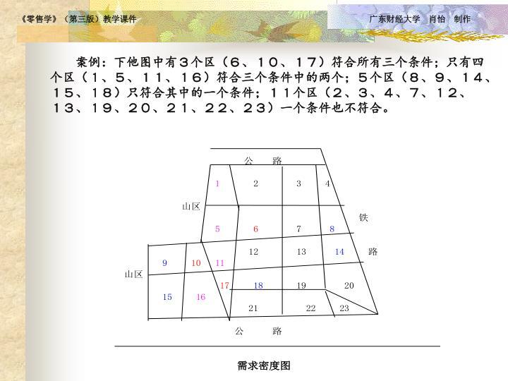 案例:下他图中有3个区(6、10、17)符合所有三个条件;只有四