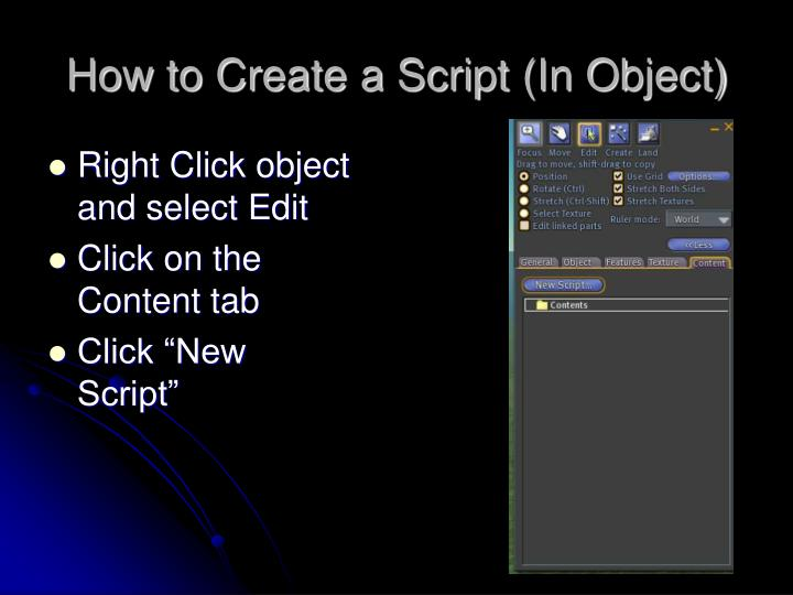 How to Create a Script (In Object)