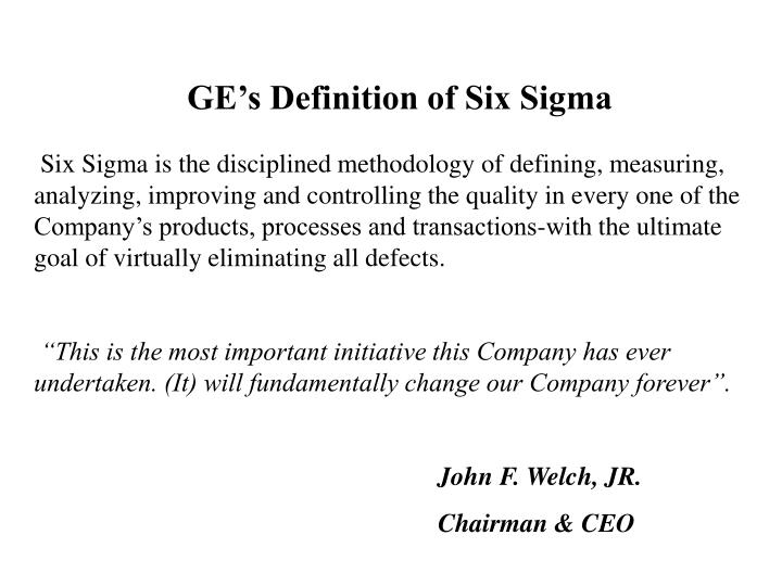 GE's Definition of Six Sigma