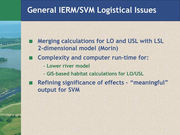 General IERM/SVM Logistical Issues