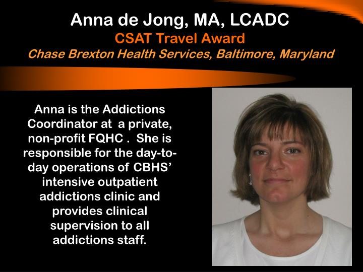 Anna de Jong, MA, LCADC