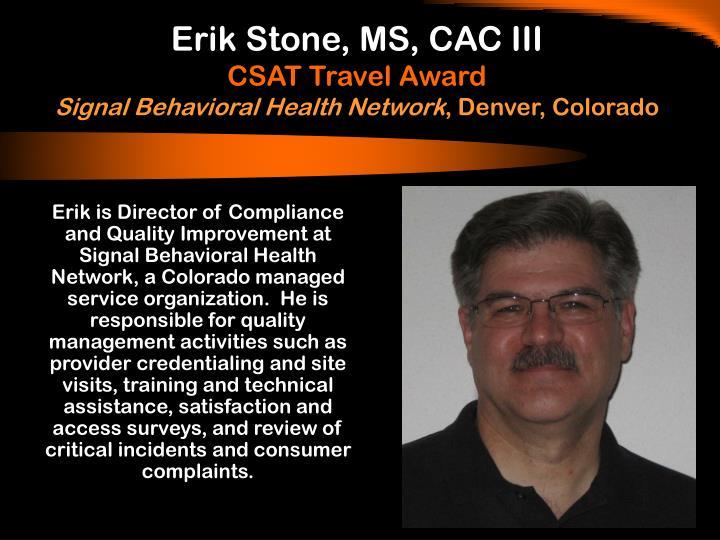 Erik Stone, MS, CAC III