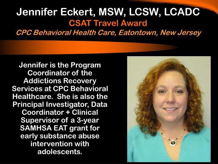Jennifer Eckert, MSW, LCSW, LCADC