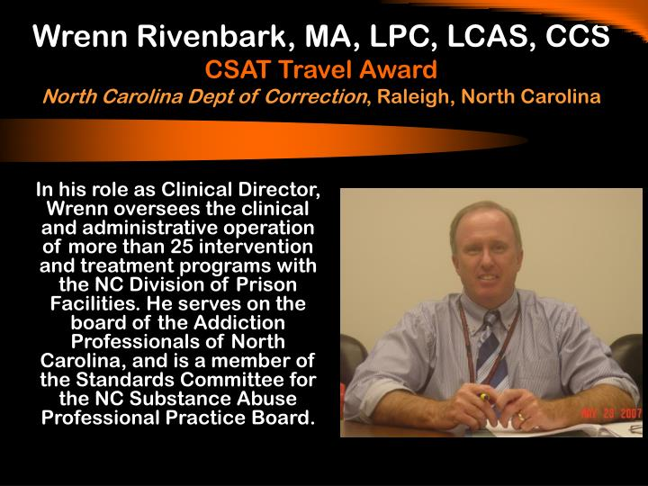 Wrenn Rivenbark, MA, LPC, LCAS, CCS