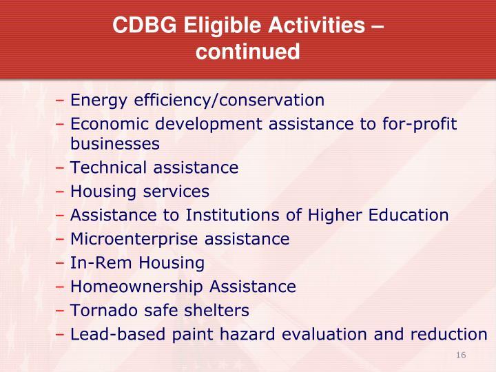 CDBG Eligible Activities –