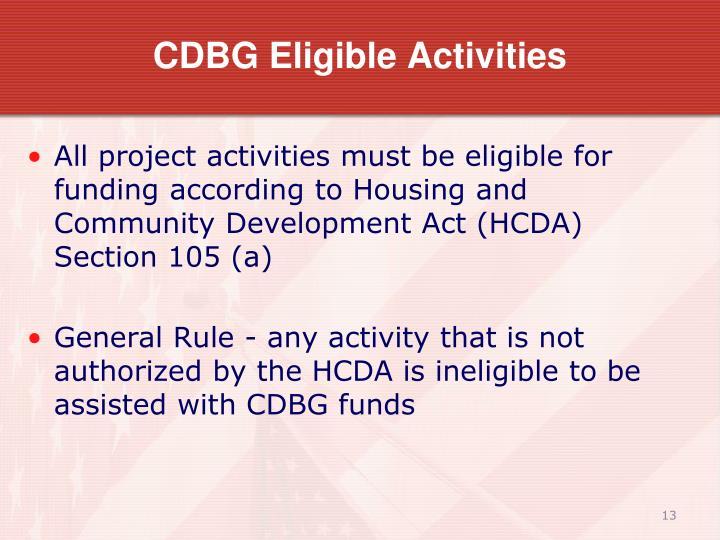 CDBG Eligible Activities