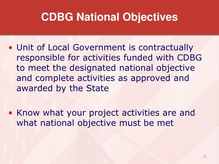 CDBG National Objectives