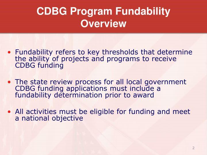 CDBG Program Fundability