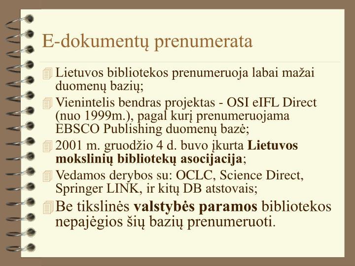 E-dokumentų prenumerata