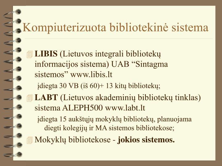 Kompiuterizuota bibliotekinė sistema