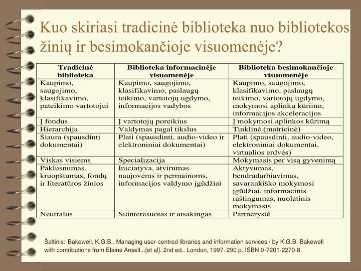 Kuo skiriasi tradicinė biblioteka nuo bibliotekos žinių ir besimokančioje visuomenėje?