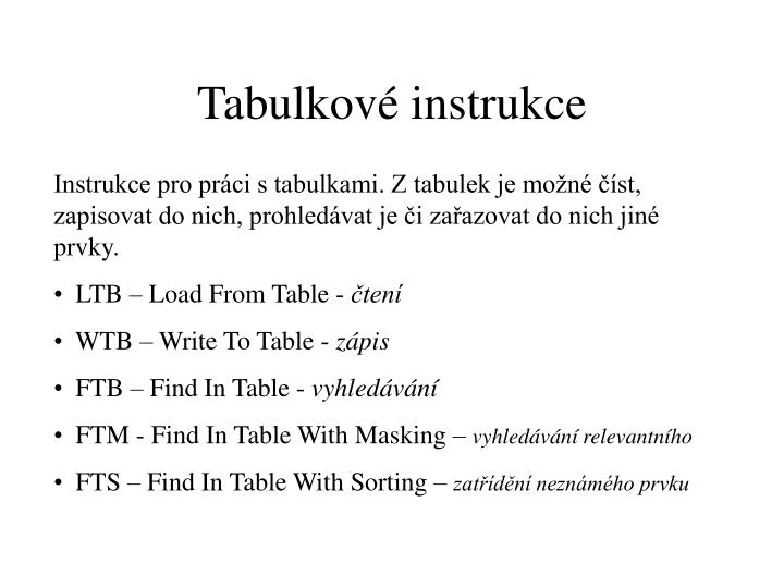 Tabulkové instrukce