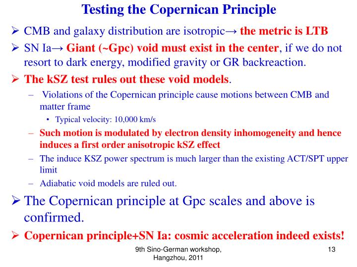 Testing the Copernican Principle