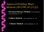 approved drinking water methods 40 cfr 141 21 f1