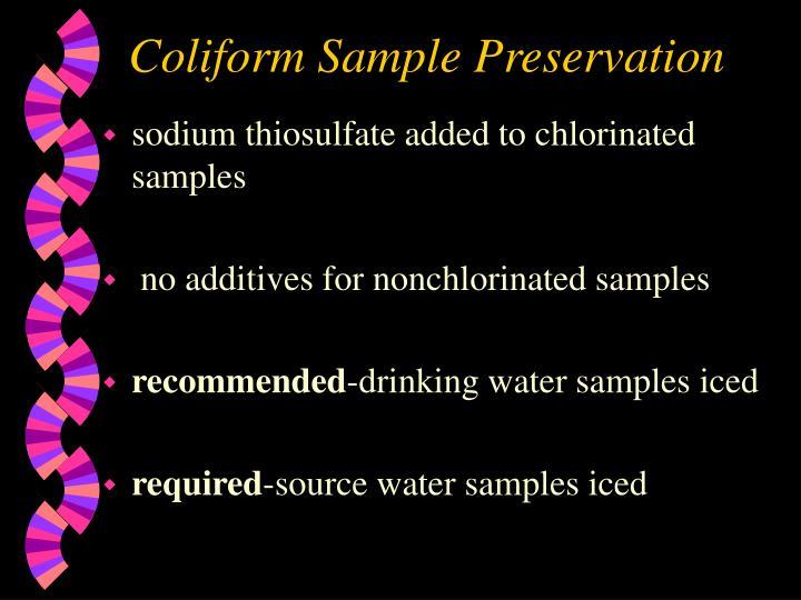 Coliform Sample Preservation