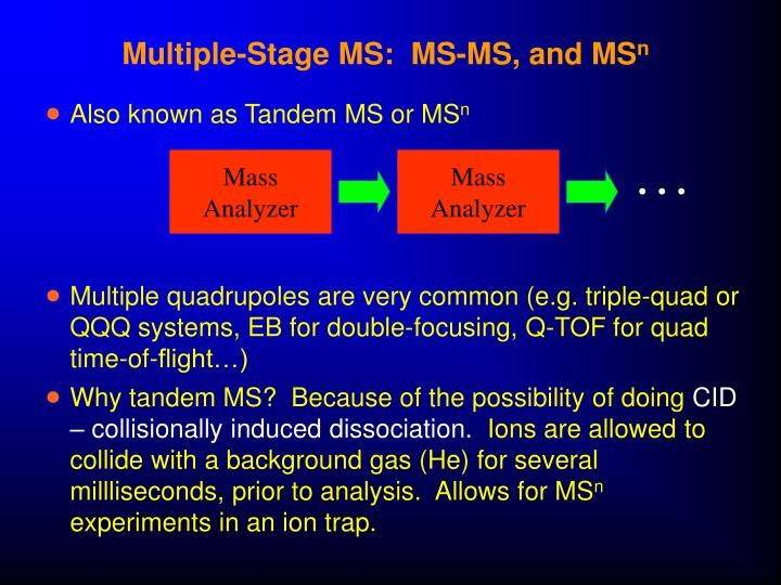 Multiple-Stage MS:  MS-MS, and MS