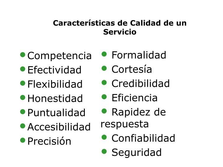 Características de Calidad de un Servicio