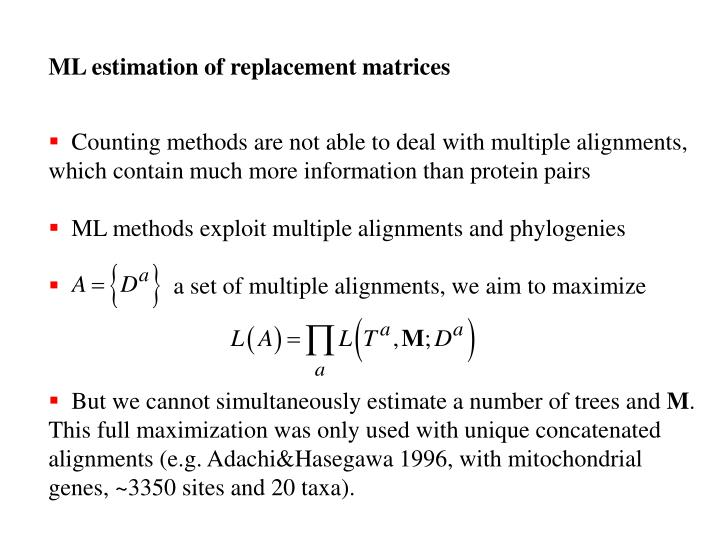 ML estimation of replacement matrices